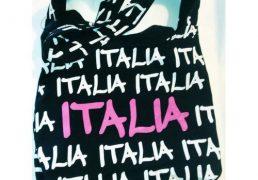 BORSA STOFFA SCRITTE ITALIA 40X33CM      TRACOLLA 52CM