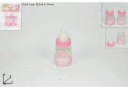 Biberon Plastica Set 2pz Rosa